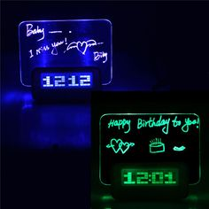 HIGHSTAR Model B Fluorescent Message Board Alarm Clock Memo Calendar Thermometer Light