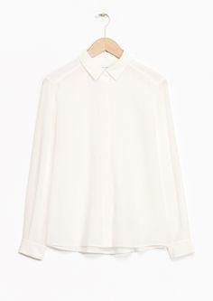 Other Stories image 1 of Classic Silk Shirt in Off white Classic White Shirt, White Shirts, Little Dresses, Beige, Stores, Well Dressed, Timeless Fashion, Capsule Wardrobe, Blouses For Women
