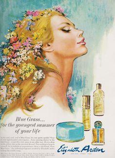 1967 Blue Grass Perfume, Fashion Illustration by saffronfields, $14.99
