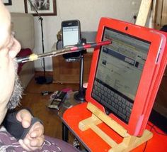 """Mouth stylus for iPad: from """"Tips & Tricks from People with SpinalCord injuries Occupational Therapy Equipment, Pediatric Occupational Therapy, Therapy Activities, Therapy Ideas, Speech And Language, Sign Language, Vision Therapy, Adaptive Equipment, Spinal Cord Injury"""