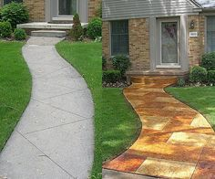 Curb Appeal Before And After | Porch overlay, new walkway & step