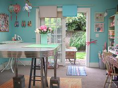 Awesome Colourful Organizing Sewing Room Ideas For Inspiration. Here are the Colourful Organizing Sewing Room Ideas For Inspiration. This post about Colourful Organizing Sewing Room Ideas For Inspiration  Sewing Room Design, Sewing Studio, Sewing Rooms, Sewing Spaces, Turquoise Paint Colors, Best Paint Colors, Turquoise Walls, Turquoise Art, Teal Walls