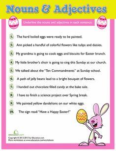 2nd Grade Worksheet: Easter Grammar (nouns & adjectives)
