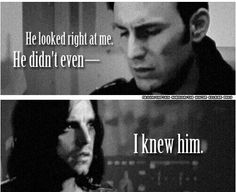 What's so heartbreaking about this mashup is that Steve assumes Bucky doesn't recognize him at all when in truth Bucky had started to remember even a SMIDGE. Of course this isn't Steve's fault, but it's like when Bucky fell off the train and Steve assumed that Bucky had died. Ignorance is a dangerous weapon.