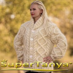 Made to order hand knit mohair cardigan in ivory by supertanya