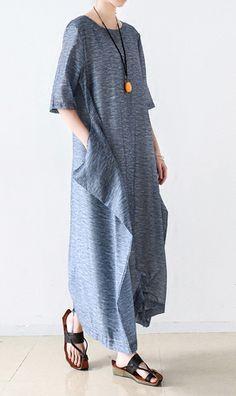 2017 summer linen dresses plus size silk maxi dress short sleeve casual sundress