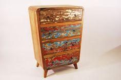komoda drewniana z Indonezji, ręcznie wykonana z drewna tekowego, recyklingowanego ze starych łodzi