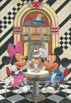 Disney Fine Art - Sundae for Two. Mickey and Minnie 60's soda fountain. Biggs Ltd. Gallery. Heirloom quality bridal, art, baby gifts and home decor. 1-800-362-0677. $495.