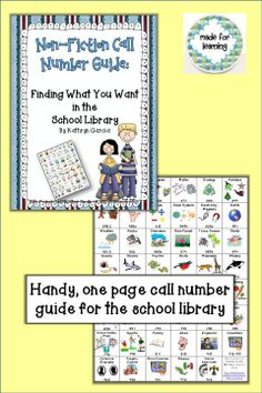 This Non-Fiction Call Number Guide is intended to be helpful to school librarians as well as classroom teachers. It includes a guide for introducing the non-fiction section of the school library or media center to your students. Keeping a box full of these guides at the entrance of the library helps develop independence in the selection of books for students (and teachers) who often don't have time for an extensive computer search.  $
