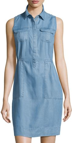 Neiman Marcus Double-Pocket Sleeveless Denim Dress, Soft Denim