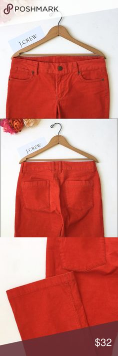 J Crew Favorite Fit Bootcut 5 Pocket Cord❤️ Labeled size 4s (Short).  98% cotton and 2% spandex. Classic five pocket design. Straight leg/boot cut, not skinny. I see the color as orangey red as opposed to reddish orange (tomato red?)...looks more orange in the picture. They are a rich bright color. Waist: 16.5 inches measured flat. Thigh:  just over 11 inches measured flat. Width of pant leg near hem just under 9 inches across. Inseam: 31 inches. Hips: 19 inches across measured flat. This…