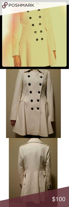 Brand new Via Spiga Wool Skating coat First picture is stock photo,  the rest are the actual item.   Color:?Winter White  60% Wool/30% Nylon/10% Viscose 100% Polyester lining Dry Clean Only Approximately 33 inch Length  Double breasted Swing coat Shoulder epaulets Fully lined Via Spiga Jackets & Coats