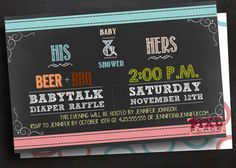 His and Hers invite His and hers invitation Coed baby by PixlPlace
