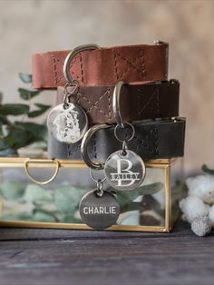 Free personalization on leather dog collar and name tag Cool Dog Collars, Leather Cat Collars, Custom Dog Collars, Dog Accesories, Pet Accessories, Dog Collar With Name, Custom Dog Tags, Personalized Dog Collars, Inspirational Gifts