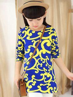 Girls Tribal Print Loose Fitting Long T-Shirt #women, #men, #hats, #watches, #belts, #fashion, #style