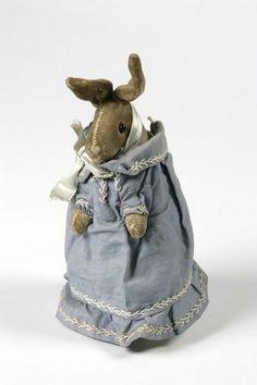 Rabbit rattle 'Baby'in blue dress; Velvet, German, c1906