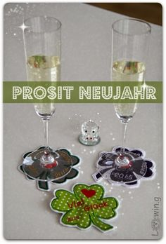 Embroidery Coaster for Champagner, Lucky Clover Embroidery, Sektglas Untersetzer für Silvester