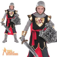 Child-Brave-Crusader-Costume-Boys-Medieval-Knight-Fancy-Dress-Outfit-Book-Day