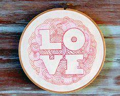 Retro Love Hoop Art-Embroidered Love Hoop by ZellyaDesigns on Etsy