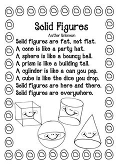Do your students have difficulty memorizing the name of shapes and solids? Show them this catchy poem and I promise you they are gonna like it!