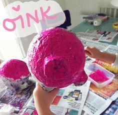 Paper Mache piggy bank! Using a balloon, paper mache and newspaper - full post on indieberries.blogspot.com