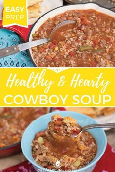 This Healthy And Hearty Cowboy Soup Is An Outrageously Easy And Quick Soup Recipe, Perfect For Easy And Healthy Weeknight Dinners, Casual Dinner Parties, And Make-Ahead Freezer Meals Add It To Your Meal Planning It Will Definitely Become A Family Favorite Quick Soup Recipes, Delicious Dinner Recipes, Meal Recipes, Chili Recipes, Enchilada Recipes, Casserole Recipes, Cooker Recipes, Vegetarian Recipes, Recipies