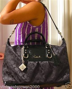 Coach Signature Large Black Satchel Tote Bag Handbag Purse + Marc Jacobs Bonus