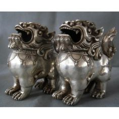 China Silver Foo Fu Dog Lion Incense Burner Censer ZMSX2002
