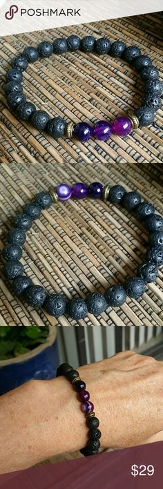 Lava rock and amethyst yoga boho bracelet Beautiful 6 mm lava rock beads with 3 amethyst beads. Not a jeweler but the amethyst look authentic. Very nice. On a stretch cord so will fit most. New with out tags. Check out my other beautiful items for sale and bundle up for a 15 percent discount cheers! Jewelry Bracelets