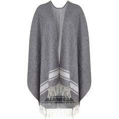 Crippen  Grey Wool Tasselled Blanket Wrap ($415) ❤ liked on Polyvore featuring tops, cardigans, grey, gray open front cardigan, wrap top, grey striped cardigan, oversized cardigan and gray cardigan