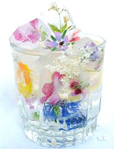 Use Edible Wildflower Ice Cubes for a special touch  to your tea party or brunch