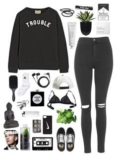"""trouble // black n white"" by sophwilsonxo ❤ liked on Polyvore featuring Vans, Sea, New York, Topshop, NIKE, NARS Cosmetics, Goody, Eres, Byredo, Korres and Brixton"
