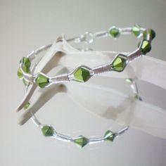 Green Wire Wrapped Bracelet by Aurelia Johnson