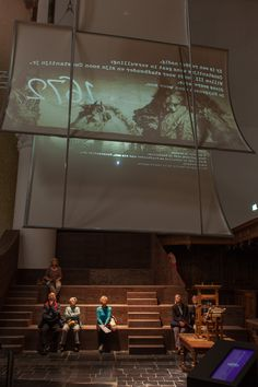 On our way to England; a film projection on sail at the Huygens exhibition in the Grote Kerk in The Hague, Netherlands.