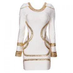 Women Gold Foil Mini Tunic Party Dress Bodycon Dress, WHITE, XS in Bandage Dresses   DressLily.com