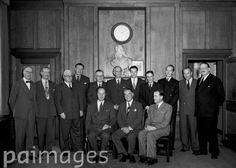 Board meeting of the Press Association Limited in 1947.Standing from left to right: Mr J H Walker (Director Press Association, Managing Director, Bath