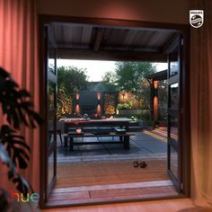 Harmonize your indoor and outdoor area with light. And add rustic colors to your terrace or patio with Philips Hue. Visit our website for more inspiration and our entire range of smart indoor and outdoor LED fixtures. Patio, Backyard, Outdoor Garden Lighting, Outdoor Decor, Smart Lighting System, Philips Hue, Led Fixtures, Rustic Colors, Colorful Garden