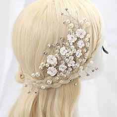 Fleurs Casque Mariage/Occasion spéciale Cristal/Alliage/Imitation de perle/Zircon Femme/Jeune bouquetière Mariage/Occasion spéciale – EUR € 21.84