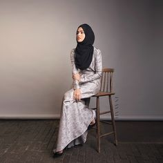 INAYAH | Silver Brocade Evening Gown | Black Georgette Hijab | www.inayahcollection.com #inayah #inayahcollection #modestfashion #hijabfashion #occasionalwear #modesty #gown #dress #occasion #bridal