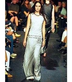 Ann Demeulemeester / Spring/Summer 2000 / Sheer mesh beaded Patti Smith poetry dress / Available at www.jamesveloria.com