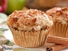 Fresh Apple Cinnamon Muffins from Mr. Food. I made these for breakfast this morning.  I added an extra apple and substituted 1/2 c whole wheat flour.  They are delicious!  I'm sure I'll make them again sometime.