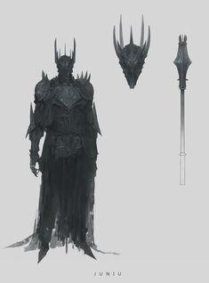 Sauron by Ben Juniu High Fantasy, Dark Fantasy Art, Dark Art, Fantasy Character Design, Character Design Inspiration, Character Art, Hobbit, Fantasy Armor, Medieval Fantasy
