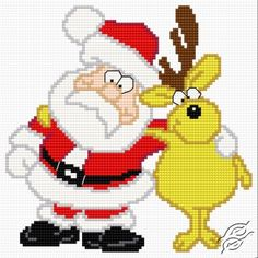 Santa Claus with a Reindeer - Free Cross Stitch Pattern
