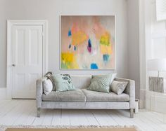 """ABSTRACT Print , large print, beige yellow and blue, abstract art  """"Out of Her Loop 2"""" Gallary Wall, Blue Abstract, Abstract Print, Art Addiction, Large Prints, Fine Art Paper, Buy Art, Canvas Size, Giclee Print"""