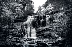 Autumn Fall In Black And White.  Bald River Falls.  Monroe County, Tennessee