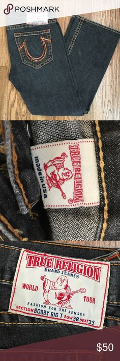 Men's True Religion jeans Faded black denim, Bobby Big T cut. Made in USA. True Religion Jeans