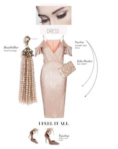 """""""Pale pink"""" by theitalianglam ❤ liked on Polyvore featuring BaubleBar, Rare London, Topshop, Edie Parker, topshop, velvet and under100"""