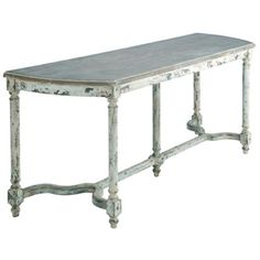 Wood Table Distressed White by Candelabra Home.