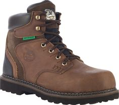 Georgia Brookville Mens Dark Brown Leather Steel Toe WP Work Boots
