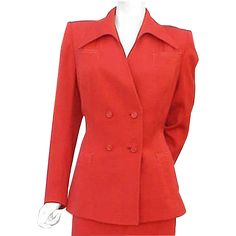 1940s Women's gabardine suit Size Large target red and wonderful. Offered at a Sale Price for a short time. Love this wonderful wasp waist jacket. The